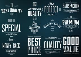 Retro Best Quality Labels Vector Set