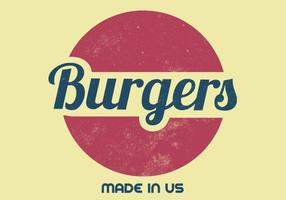 Retro Burger Vector Sign