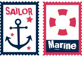 Free Sailor Summer Stamp Vectors