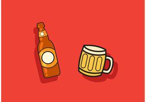 Beer Vector Bottle and Mug Vector