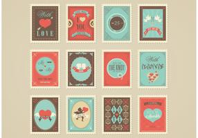 Free Love And Wedding Post Stamp Vectors