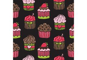Cute Cupcake Pattern Vector