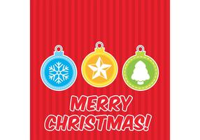 Flat Christmas Ornament Vector Card