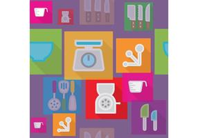 Flat Kitchen Vector Background
