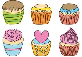 Hand Drawn Cupcake Vectors