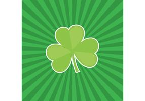 Three Leaf Clover Vector with Sunburst Background