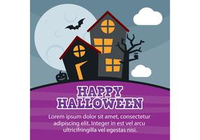 Halloween Haunted House Vector Card
