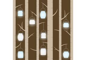 Mason Jar Hanging in Trees Vector