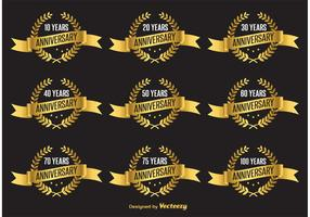 Gold Anniversary Vector Labels