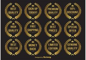 Gold Laurel Wreath Vector Labels