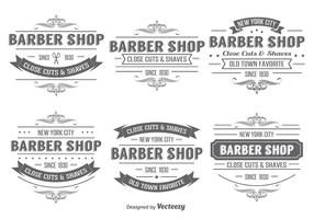 Barber Shop Insignia Label Vectors