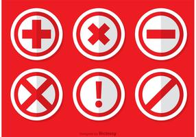 Red Cancelled Icon Vectors Pack