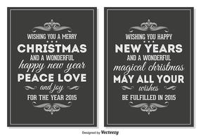 Chalkboard Style Retro Christmas Cards