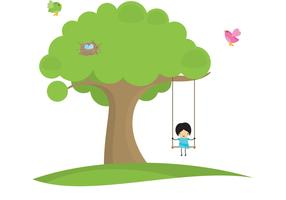 Girl Swinging In Tree Vector Background