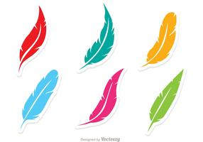 Vector Set Of Colorful Feathers