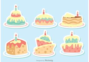 Colorful Vector Cartoon Birthday Cake Vectors Pack
