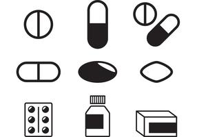 Black and White Pills Vectors