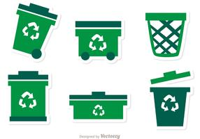 Collection Of Green Garbage Icons Vector Pack