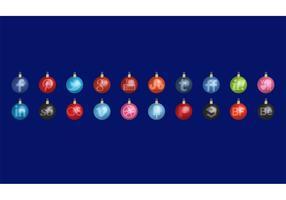 Christmas Toys Social Media Icon Vectors Set