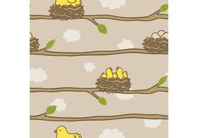 Free Bird in Nest Pattern Vector
