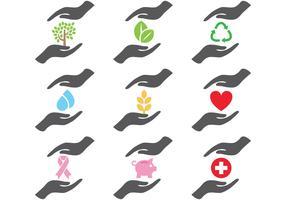 Iconos de las manos que ayudan