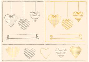Sketchy Hearts and Valentine Ornament Vectors