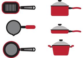 Red Cooking Pan Vectors