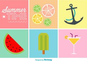 Summer Time Flat Colour Icons