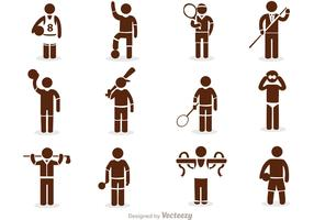 Sport Stick Figure Icons Vector Pack