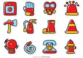 Cartoon Fireman Icons Vector Pack