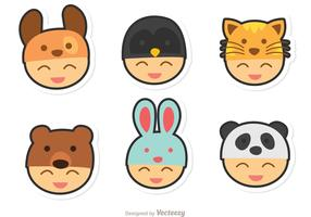 Kids With Animals Hats Vector Pack
