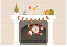 Free Santa Descends From Christmas Fireplace Vector