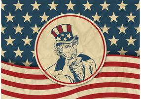 Free USA Vector Retro Background With Uncle Sam