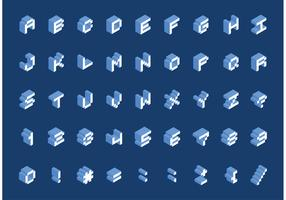 Free Isometric Pixel Font Vector