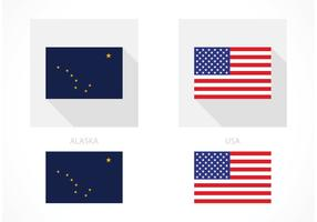 Free Alaska And USA Flag Vector