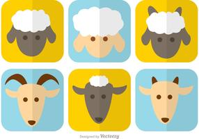 Goat and Sheep Vector Faces
