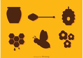 Silhouette Bee And Honey Vectors