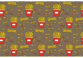 Free Fries with Sauce Pattern Vector
