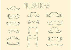 Hand Drawn Vector Moustache Set