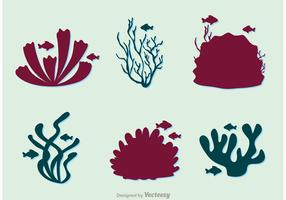 Silhouette Coral Reef And Fish Vector Pack