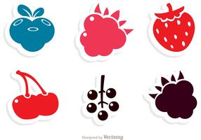 Simple Berry Fruits Icons Vector