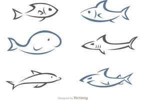 Simple Linear Sea Animals Vector