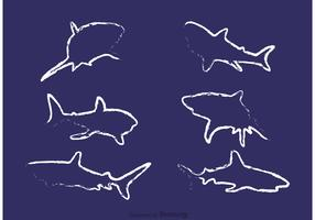 Chalk Drawn Shark Vectors
