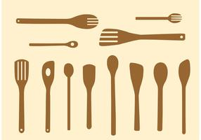 Simple Wooden Spoon Vectors