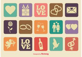Retro Style Love Icons Set