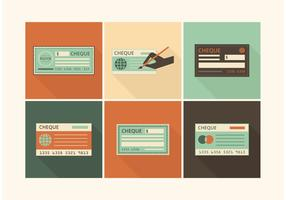 Free Retro Blank Check Vector Set