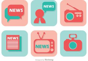News Media Icons Vector