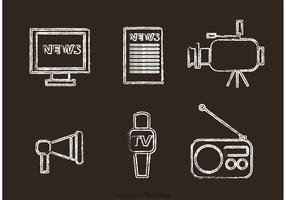 Chalk Drawn Mass Media Icons Vector