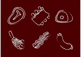 Chalk Drawn Meat Vectors