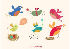 Spring Cartoon Bird Vectors